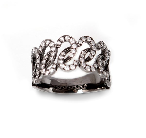 Diamonds Braces 18K Black Gold Ring
