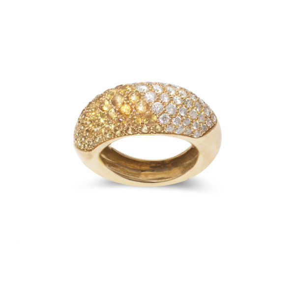 Bague jonc saphir jaune diamant or (1)