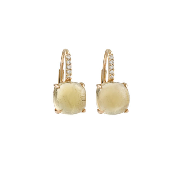 Boucles d'oreille citrine diamants or Jaune (1)
