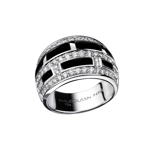 """Mauboussin """"le Vice"""" Diamonds and Black Lacquer 18 Carats White Gold Ring"""