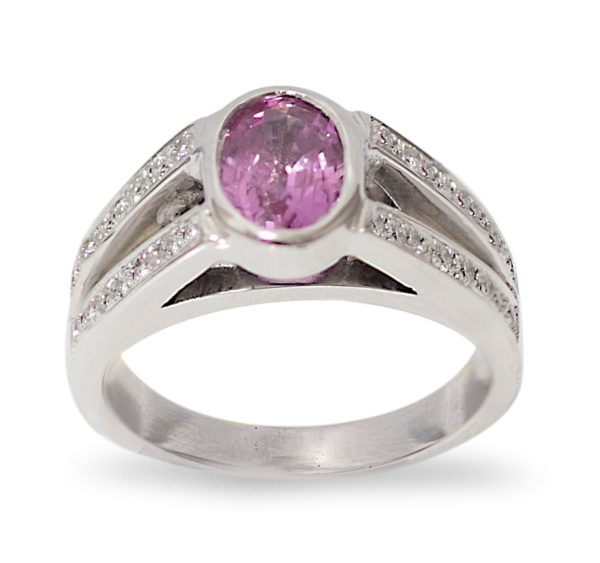bague saphir rose 1.65 carats diamants or (1)