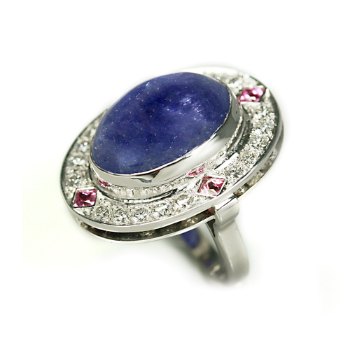 bague-tanzanite-cabochon-saphirs-rose-diamants-1