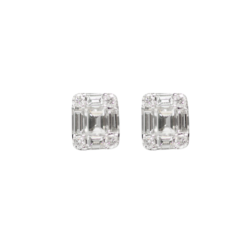 Diamonds baguette 18K White Gold Earrings