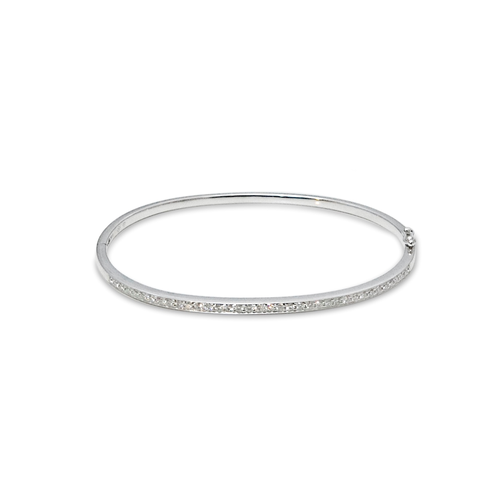 18K White Gold Diamonds Demi-Paved Bangle Bracelet