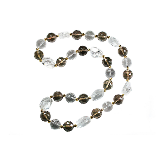 Smoky Quartz, Rock Crystal and 18k Yellow Gold Bowls Necklace