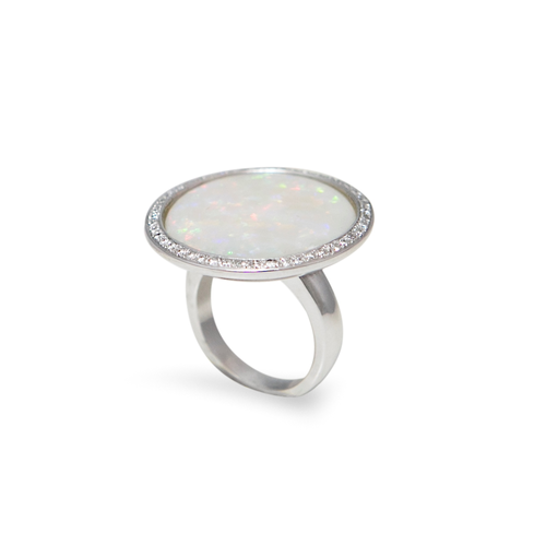 10 Carats Round Opal Diamonds 18K White Gold Ring