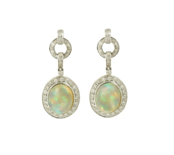 18 carats White Gold Opal and Diamonds Pendant Earrings