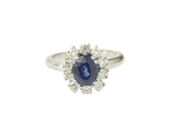 Bague marguerite saphir 2 carats diamants or gris (2)
