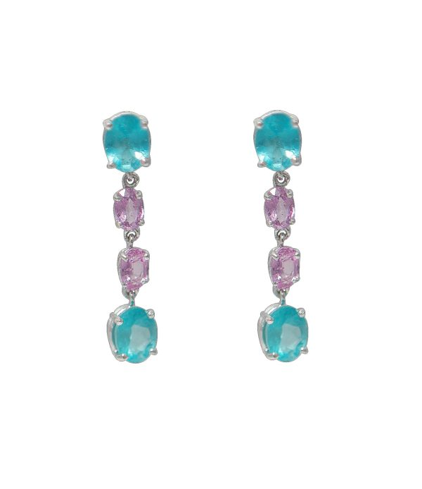 Boucles d'oreille saphir rose apatite or (1)