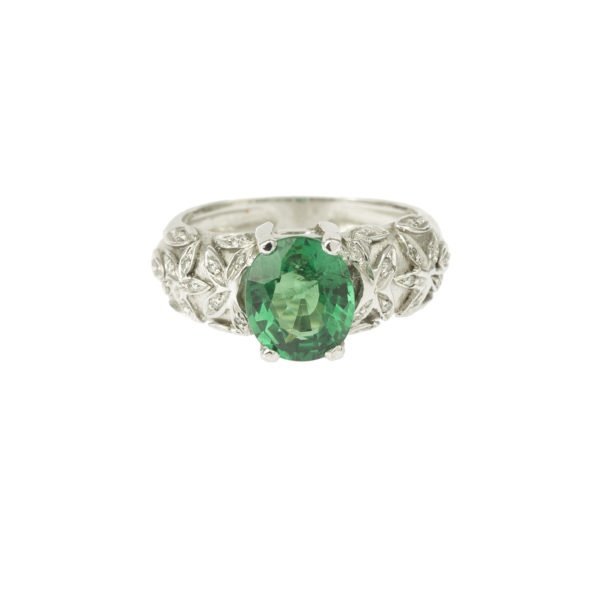 Bague Grenat Tsavorite 2.50 carats or gris diamants (3)