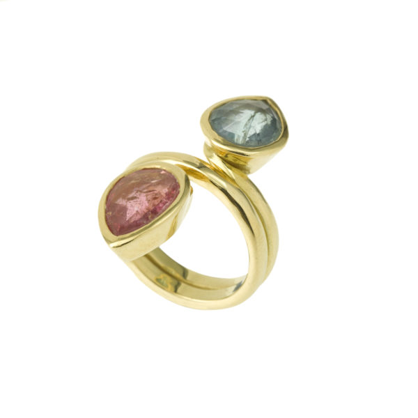Bague Tourmaline verte rose Or jaune