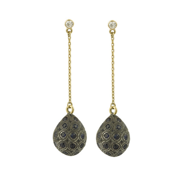 Drops Sapphires Diamonds 18k Yellow Gold Earrings