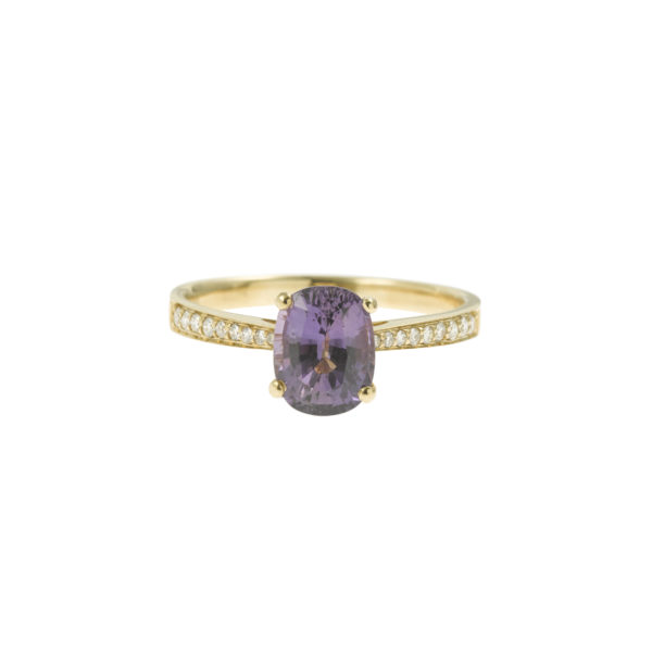 Bague Saphir mauve non chauffé diamants or Pierres de julie (2)
