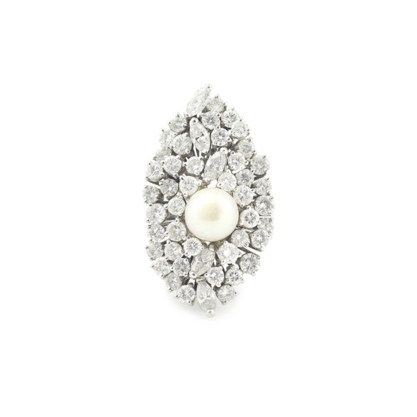 Pearl and 4.60 Navette and Round Cut diamonds 18K White Gold Cocktail Ring