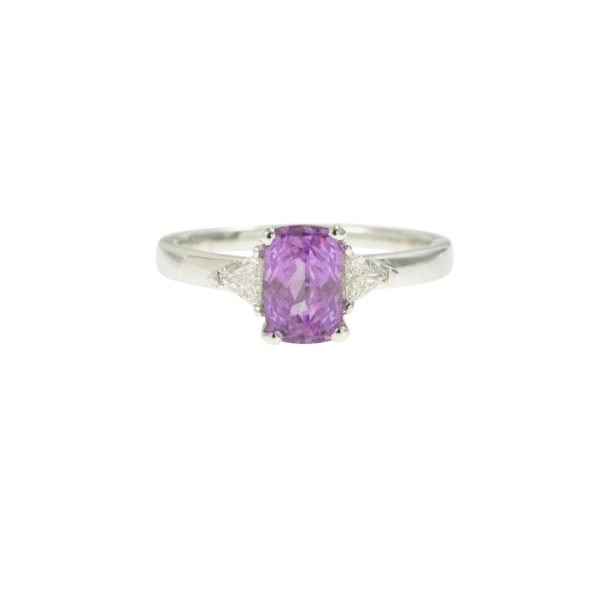 1.70 Carats non heated Pink Sapphire and troidia Diamonds 18k White Gold Ring