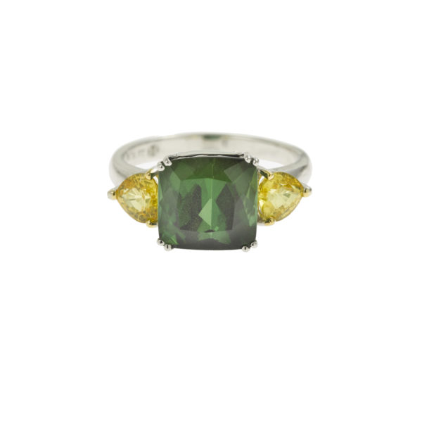 Green Tourmaline Yellow Sapphires 18k White Gold ring