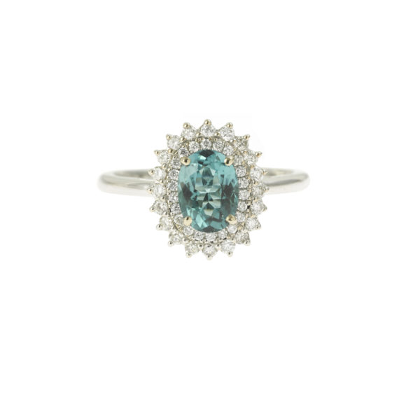Indigolite Tourmaline diamonds 18K White gold ring