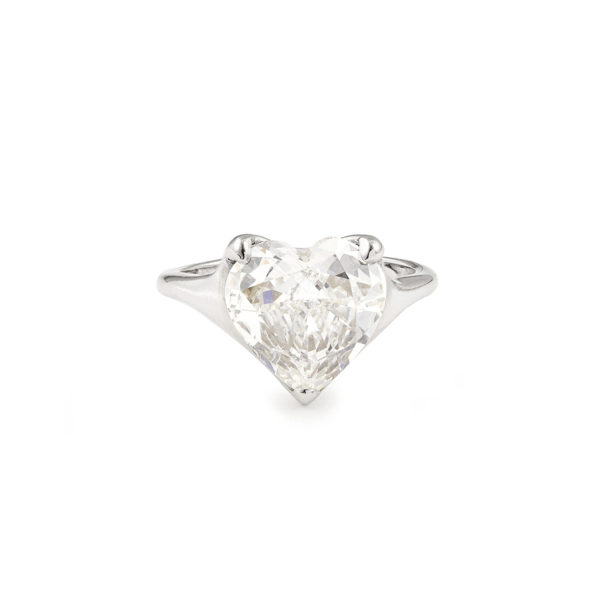 GIA Certified 4.02 Carat Heart Shape Engagement Diamond Ring