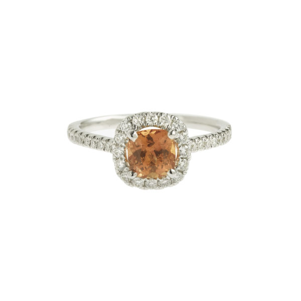 Unheated 1.20 Carats  Cushion Orange Sapphire Diamonds 18k White Gold Ring