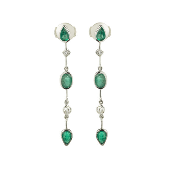 Emeralds and Diamonds 18K White Gold Earrings