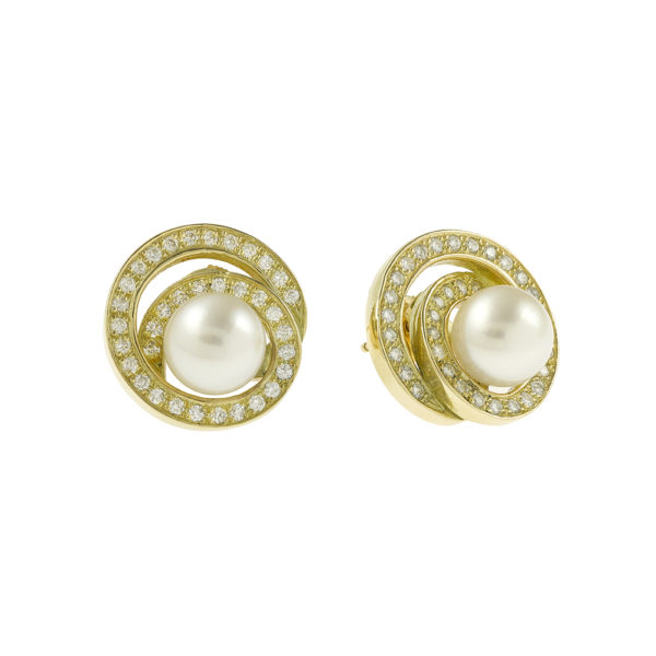 Boucles d'oreille Tourbillon perles diamant or (1)