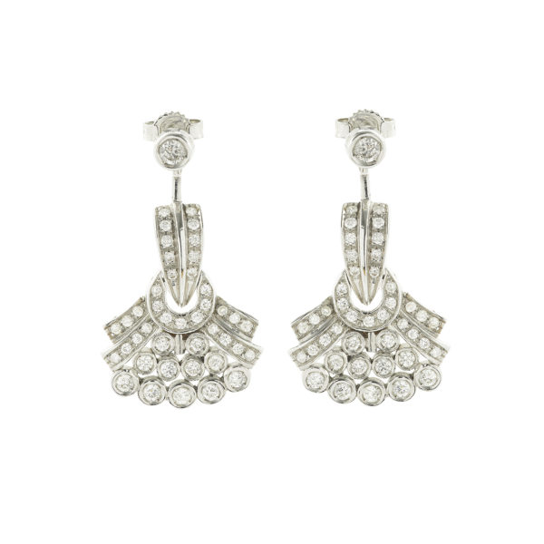Boucles d'oreille plumeau diamants Or gris (1)