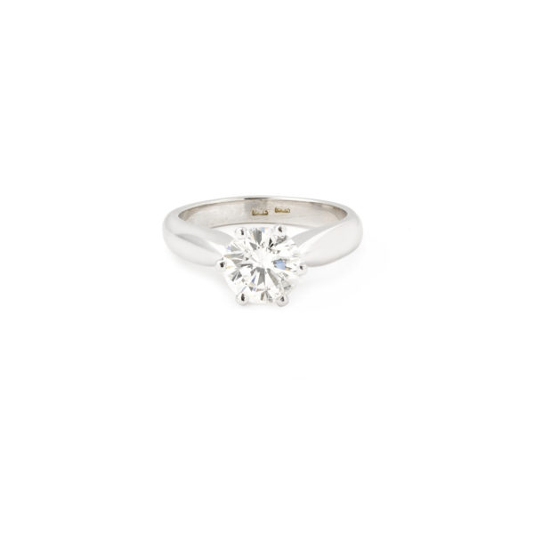 1.55 Carat Diamond G Color 18k White Gold Solitaire Engagement Ring