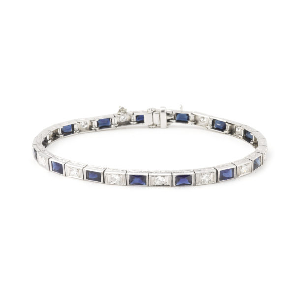 Art Deco Diamonds Sapphires Platinum Tennis Bracelet
