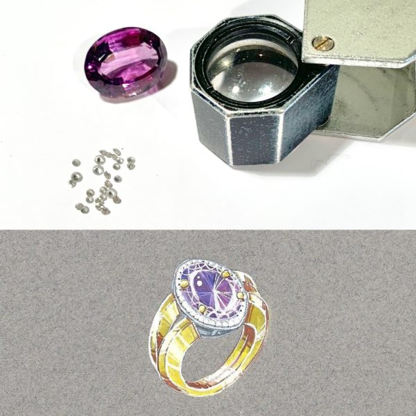 21 Carats Amethyst Diamonds 18 Carats Yellow and White Gold Ring.