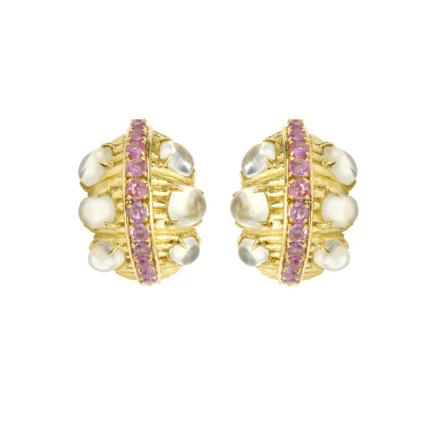 Boucles d'oreille David Webb Pierres de lune saphirs rose Or (2)