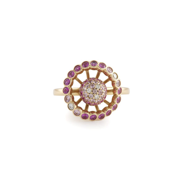 "Boucheron Paris ""Ma Jolie"" Pink Sapphires Diamonds 18K Rose Gold Ring"