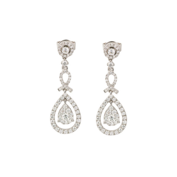 1.16 Carats Diamonds Pear Cut Effect 18 Carats White Gold Earrings