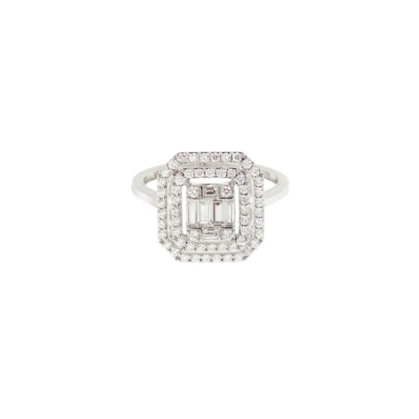 Bague diamant Rectangle Diamant Taille emeraude or gris (2)
