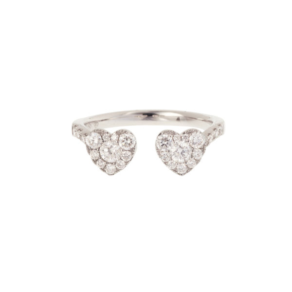 Heart Shape Paved With 0.65 Carats Diamonds 18 Carats White Gold Ring
