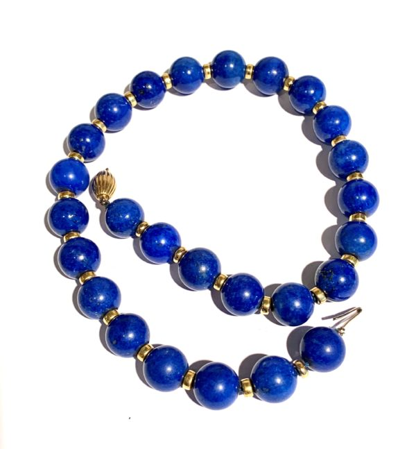 Collier Boules Lapis Or Jaune (6)