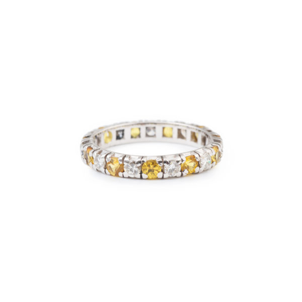 Diamonds and Yellow Sapphires 18 Carats White Gold Paved band Ring