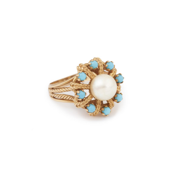 Pearl Turquoises 18 Carats Yellow Gold Vintage Ring