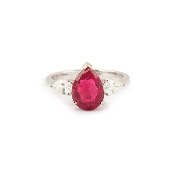 Bague Rubellite Poire Diamants poires or gris (8)