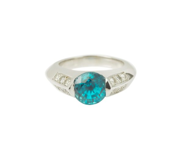Bague zircon bleu 5 carats or diamant (6)