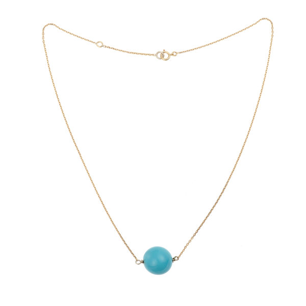 Turquoise 14mm 18 Carats Yellow Gold Necklace
