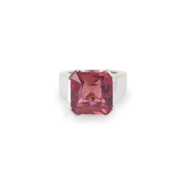 Bague Tourmaline Rose carree 14 carats Or gris (1)