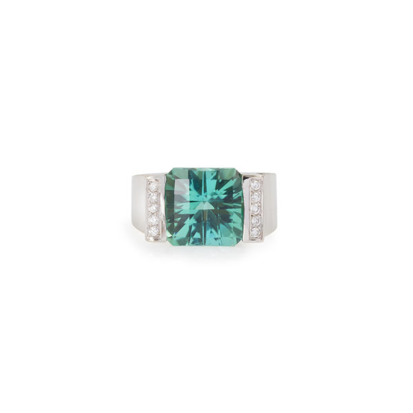 Bague Tourmaline verte 12 carats Diamants or gris (1)