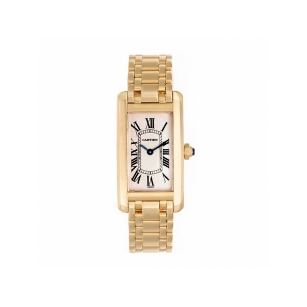 Cartier American Tank 18 Carats Yellow Gold Lady's Watch