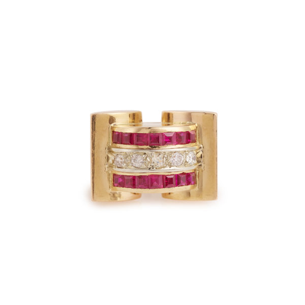 Tank 1940 Ruby Diamonds 18 Karat Yellow Gold Ring
