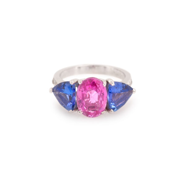 Pink Sapphire Tanzanites Diamonds 18 Carats White Gold Ring