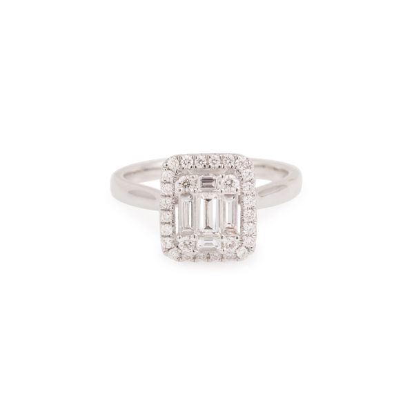 Bague pavage effet taille Emeraude (2)