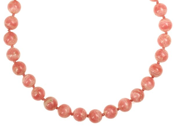 Collier Boules Rhodochrosite 14mm Diamètre Fermoir Plaqué Or (5) – Copie