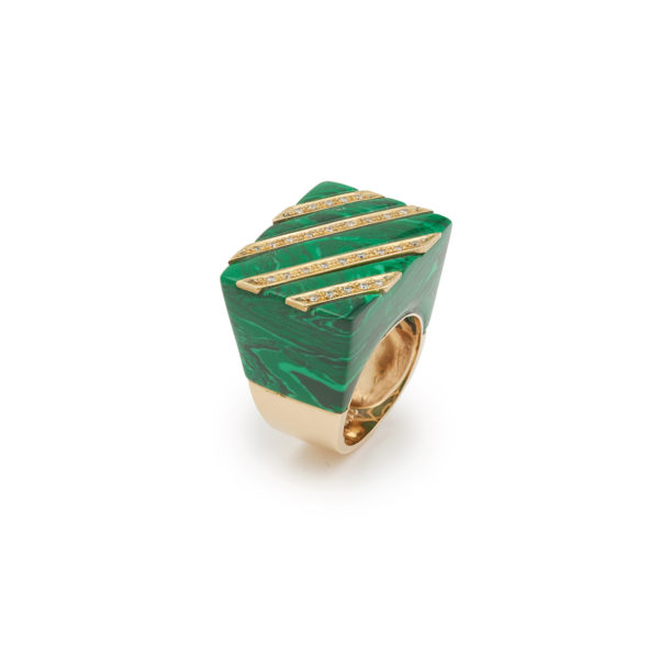 Bague Moderniste Malachite Diamants Or jaune 18K (8)