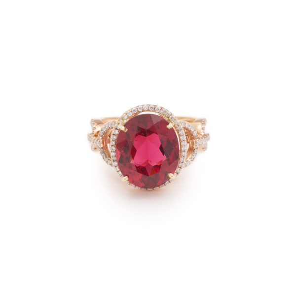 Bague Rubellite 6.13 cts Diamants or rose 18 carats (9)
