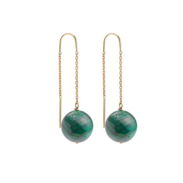 Malachite 18 Carat Yellow Gold Drop Earrings
